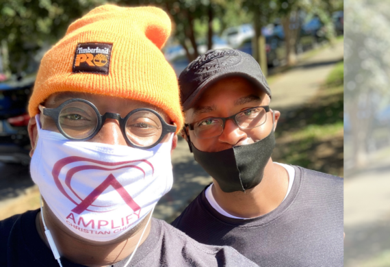 two men from Amplify church in covid facemasks